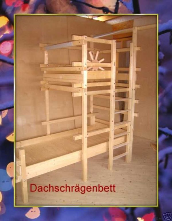 kleiner k ptn hochbett kinderbett f r dachschr gen 100 g nstiger ebay. Black Bedroom Furniture Sets. Home Design Ideas