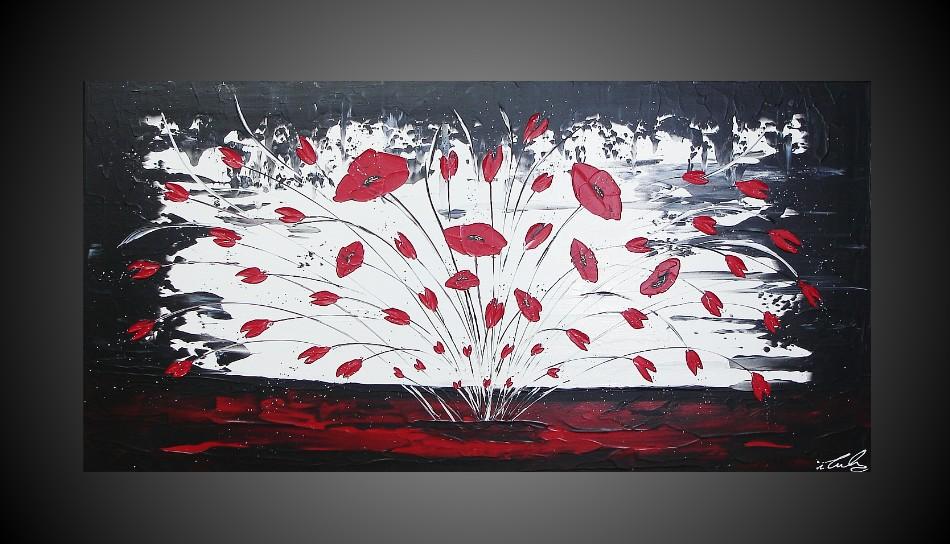 Acrylique images fleurs abstrait mohnblumen noir blanc - Peinture rouge et blanc ...
