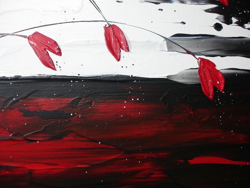 acrylbilder blumen abstrakt mohnblumen schwarz weiß rot ...