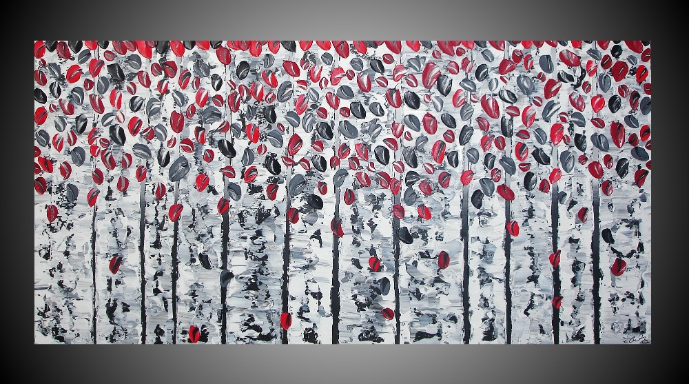 abstrait acrylique images arbres bouleaux for t noir blanc rouge grand tableau moderne ebay. Black Bedroom Furniture Sets. Home Design Ideas