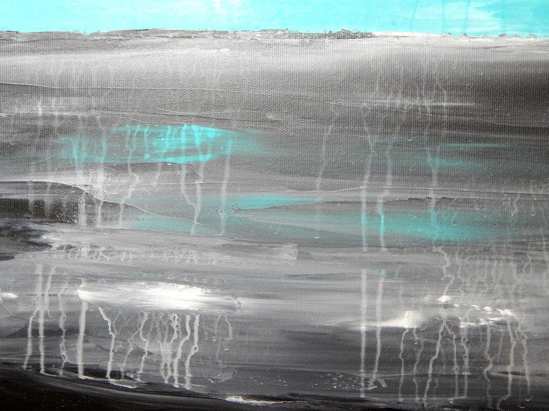 Acrylbilder abstrakt wandbilder dekoration kunst auf leinwand grau t rkis wei ebay - Wandbilder grau weiss ...