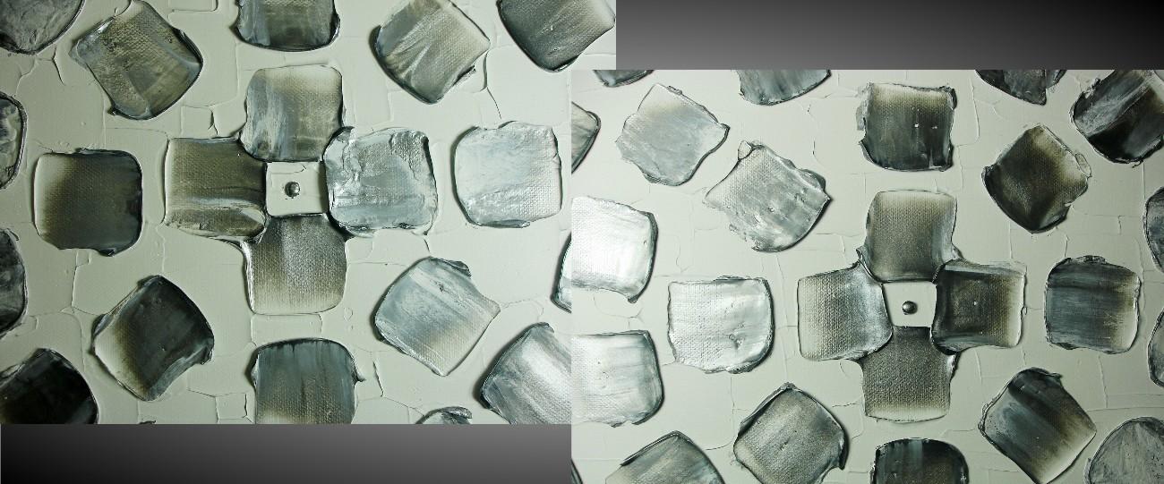 ... Acrylbild Groß Abstrakt Wanddeko Quadrate Weiß Metallic Silber X