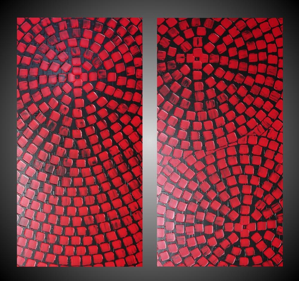 2 gro e acrylbilder rot schwarz mit quadrate auf leinwand. Black Bedroom Furniture Sets. Home Design Ideas