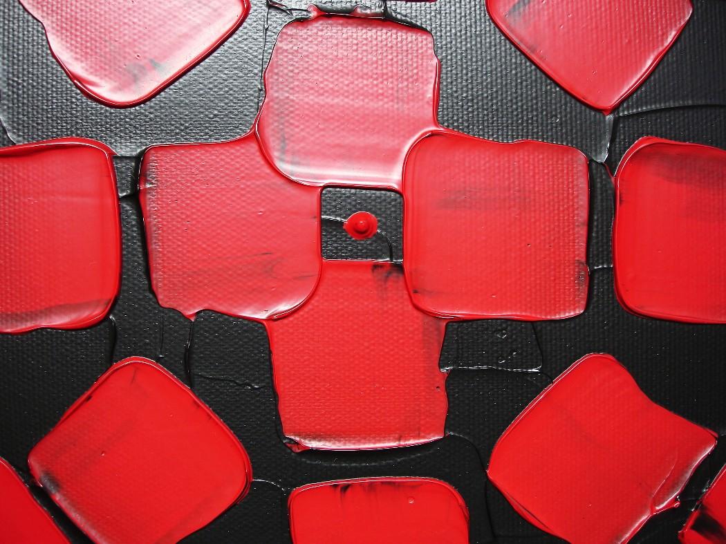 3 große acrylbilder rot schwarz mit quadrate auf leinwand ...