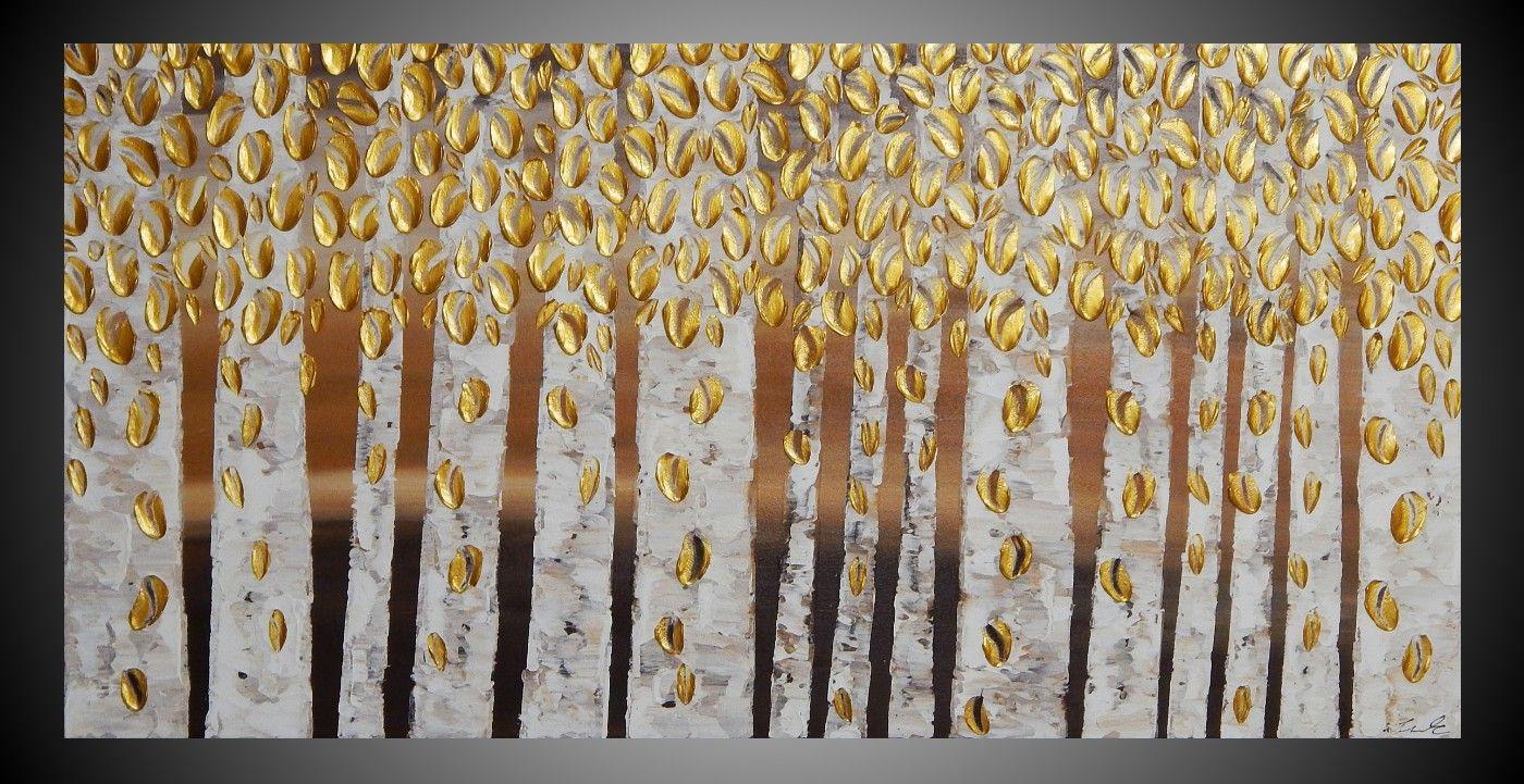 acrylbild birken b ume wald mit gold metallic gem lde. Black Bedroom Furniture Sets. Home Design Ideas