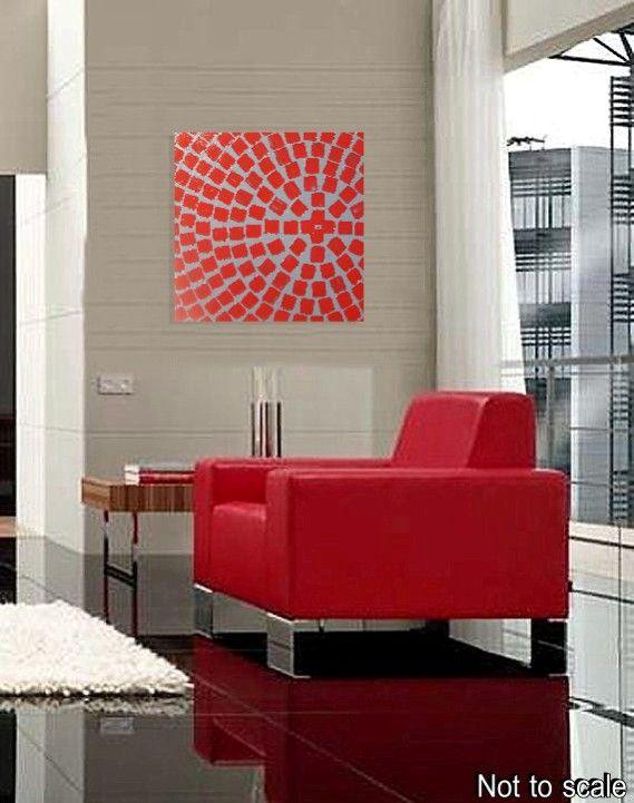 SALE Acrylbilder Gemälde Abstrakt Malerei Leinwand Wand Deko Bild Grau Rot Kunst  eBay