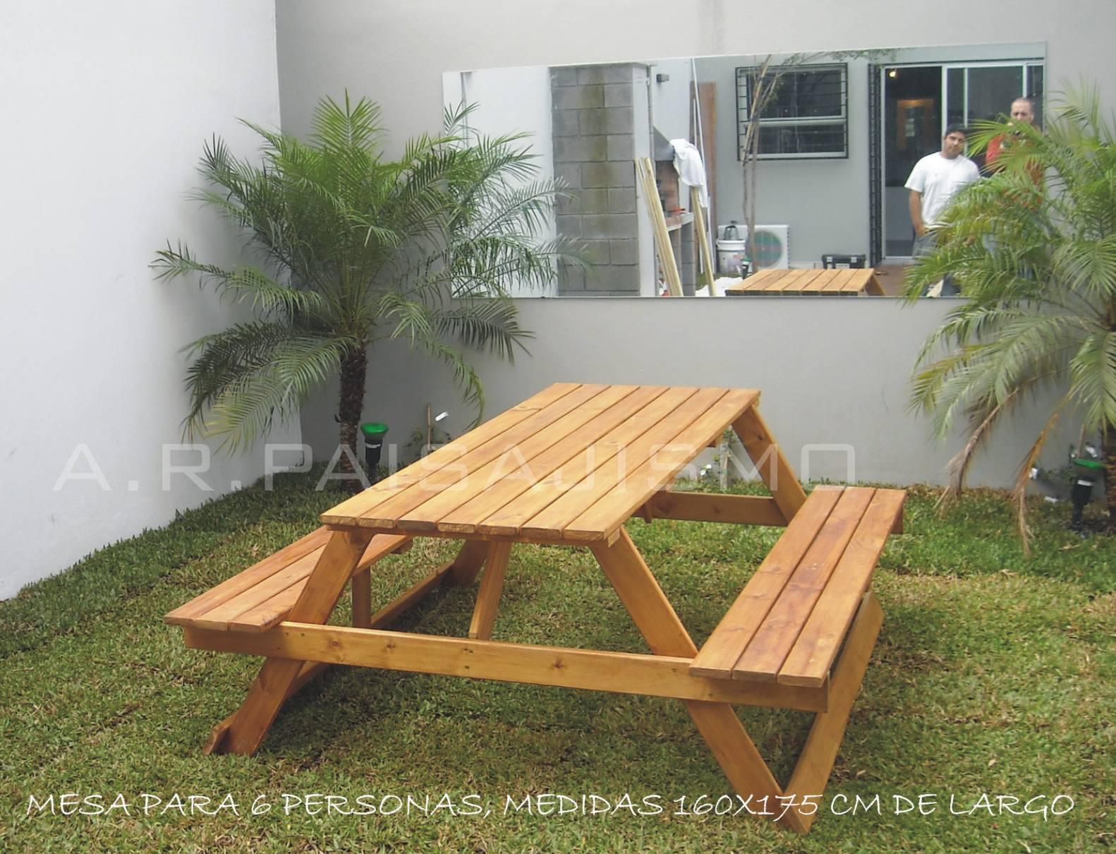 Mesa con banqetas rustica de jardin tipo camping de - Mesas de madera para jardin ...