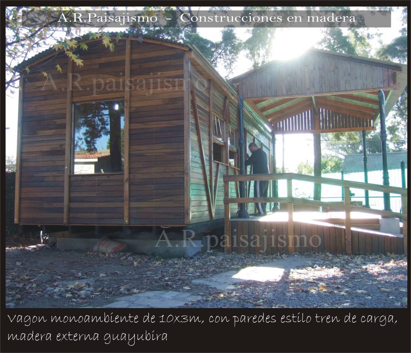 Vagon caba as de madera construccion tren replica bungalow - Construccion de bungalows ...