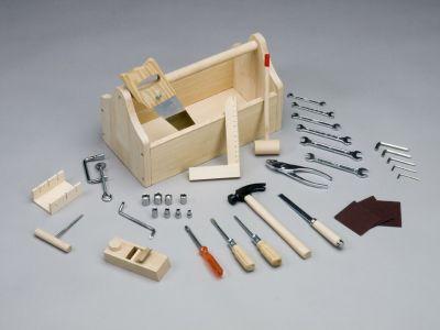 holz werkbank f r kinder werkzeugkiste 30 werkzeuge ebay. Black Bedroom Furniture Sets. Home Design Ideas