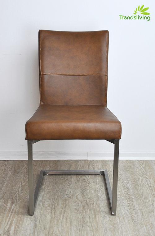 4er set esszimmerstuhl b ffelleder freischwinger braun eleganter charm ebay. Black Bedroom Furniture Sets. Home Design Ideas