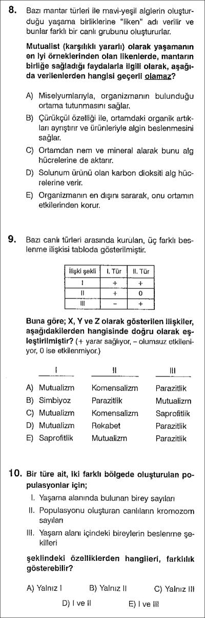 Beslenme ilişkileri ve populasyonlar test 1