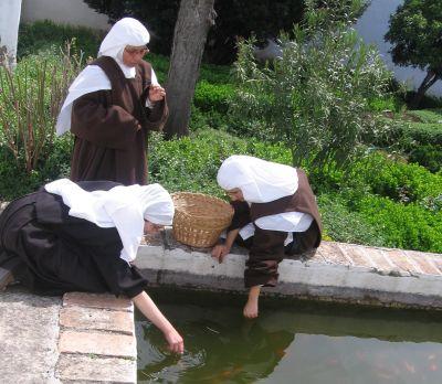 ... de hábito de Hna. Guadalupe de Jesús - en la alberca con los peces