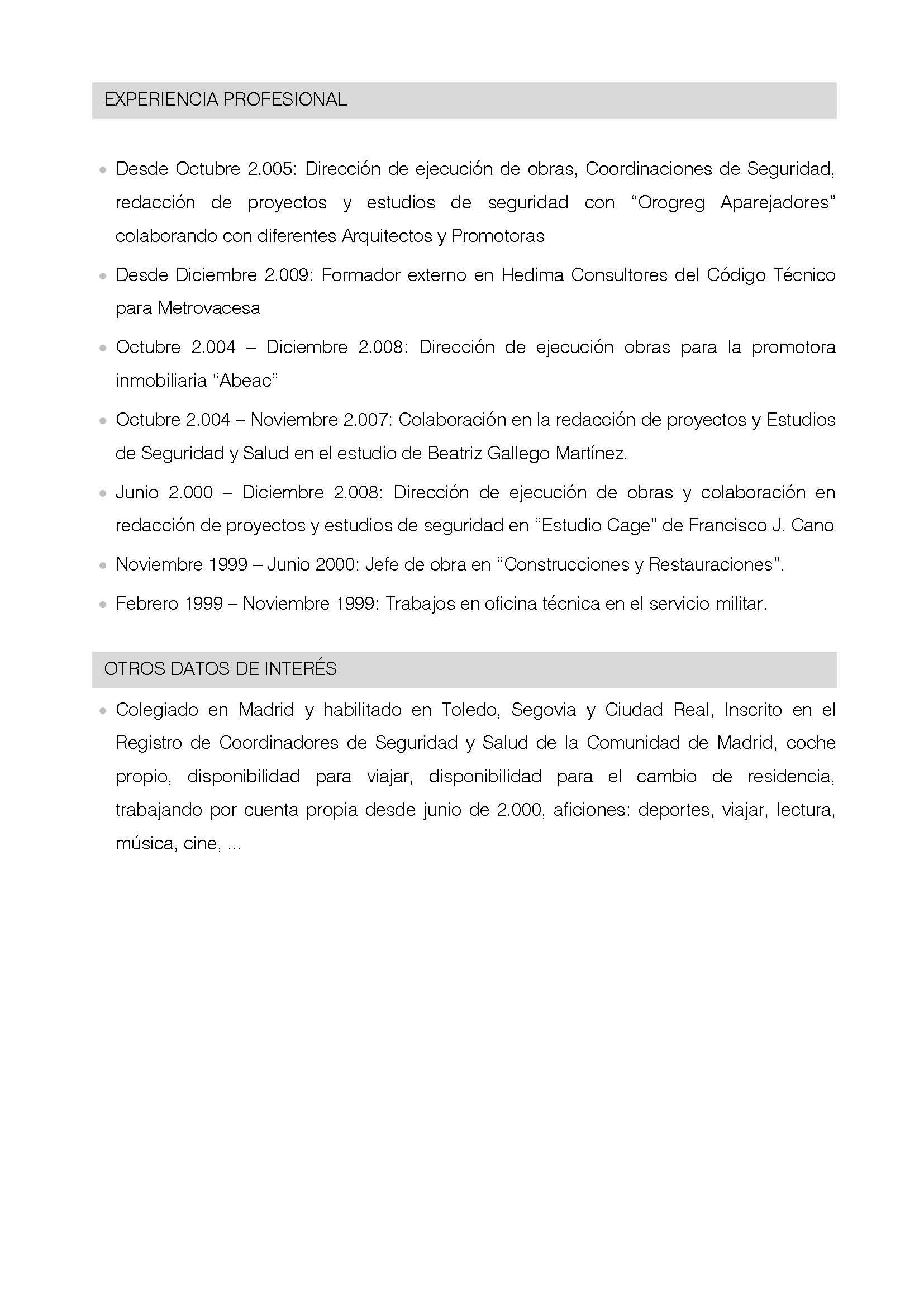 Alberto de paredes arquitecto t cnico curriculum for Curriculum arquitecto