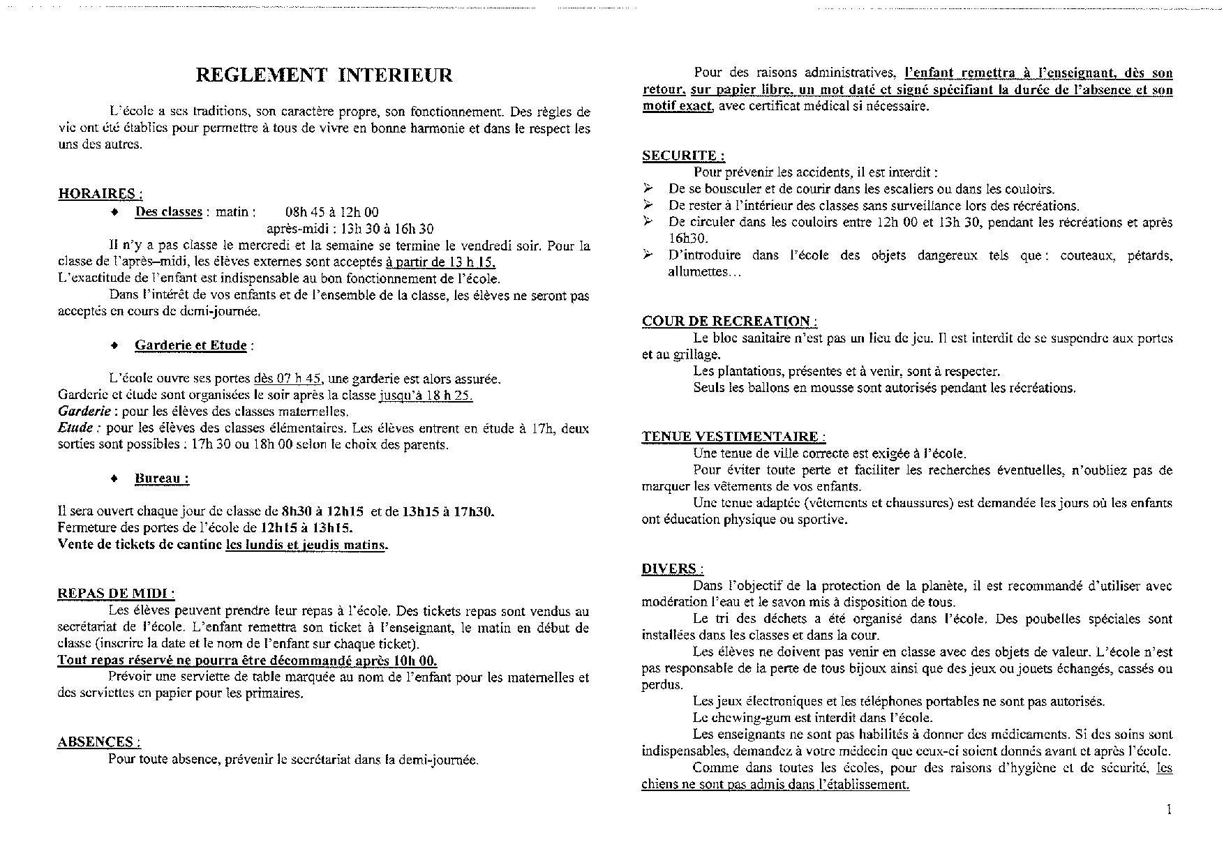 Fonctionnement de l 39 cole projet p dagogique et for Reglement interieur auto ecole