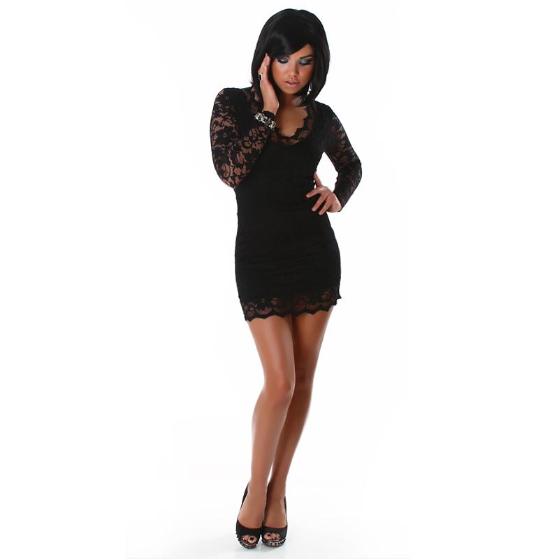 sexy minikleid transparent langarm spitze 34 36 38 ebay. Black Bedroom Furniture Sets. Home Design Ideas