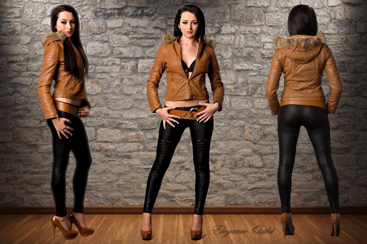 trendige damen leder style jacke kapuze mit fell gr s m l xl ebay. Black Bedroom Furniture Sets. Home Design Ideas