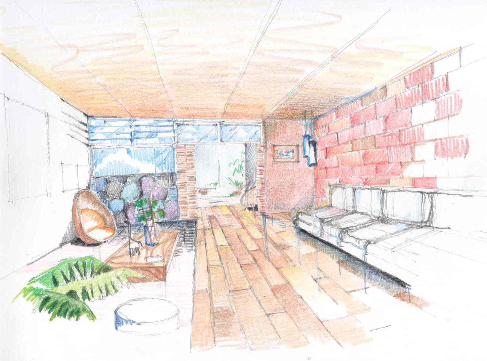 Dibujos de interiores en perspectiva for Diseno de interiores dibujos