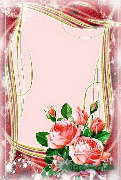 Розы рамка для поздравления с