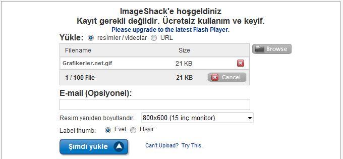 Imageshack.us'a Resim Y�kleme