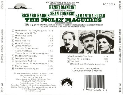 The Molly Maguires (1970) (Henry Mancini) - CD Back Cover