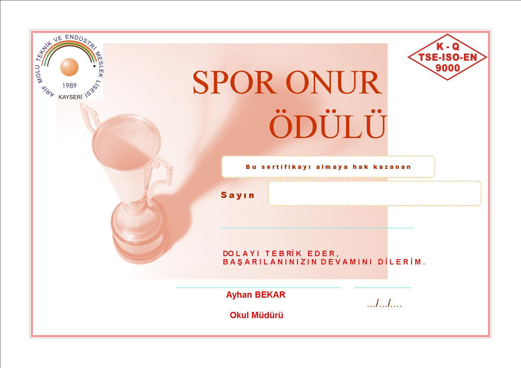 spor onur ödülü başarı belgeleri