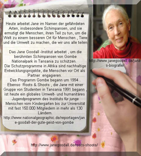 Jane Goodhall mit Roots &  Shoots