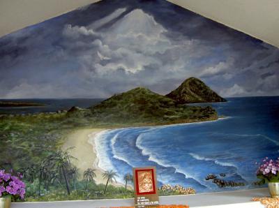 Pin mural pintura de paisaje de bamb tv papel tapiz de for Murales de pared de paisajes