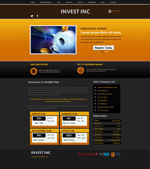 Hyip site template
