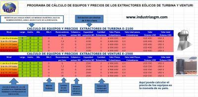 Extractores eolicos calculo