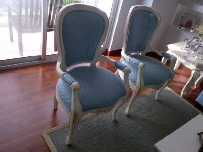 Josecodecoraciones butacas for Sillas blancas tapizadas