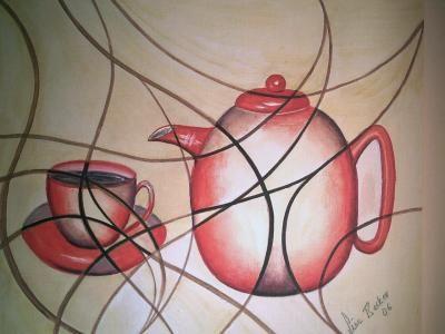 Gemälde, selbst gemaltes Bild, Bildtitel: Aromawelten, gemalte Bilder im Realismus