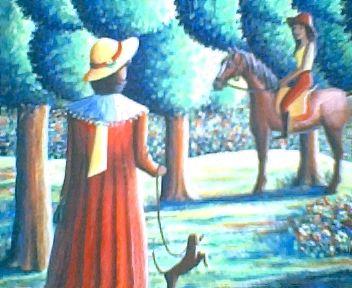 """Gemälde, selbst gemaltes Bild, Bildtitel: Begegnung mit der Nachbarin, aus der Bilderserie """"Begegnungen"""", gemalte Bilder im Surrealismus, surreale Bilder"""