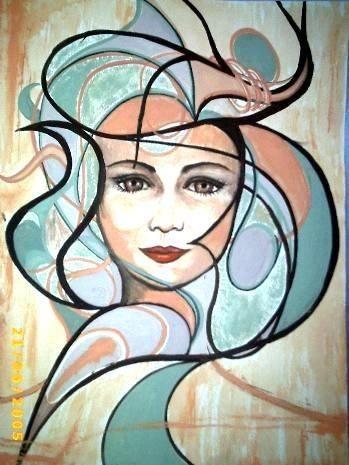 Gemälde, selbst gemaltes Bild, Bildtitel: Miss Harlekin, gemalte Bilder im Surrealismus, surreale Bilder