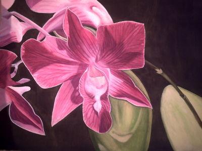 Gemälde, selbst gemaltes Bild, Blumengruß aus Thailand, gemalte Bilder im Realismus