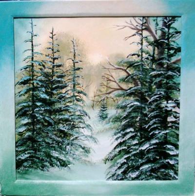 Winterwald 50x50cm im unikatrahmen verkauft
