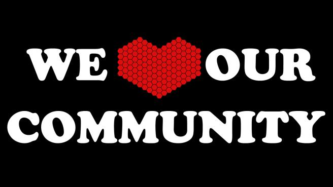 Google Image Search(community love) image 7*1+4=q(WE HEART(love) OUR COMMUNITY)