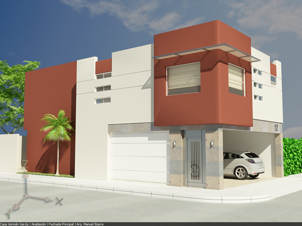 Fachada de casa minimalista con cochera techada tipo loft - Apartamentos tipo loft ...
