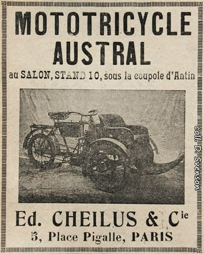 mototricycle Austral type A au Salon 1904, Stand 10 sous la coupole d'Antin