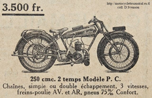 Motocyclettesaustral 1928 type pc for 998 haute compression