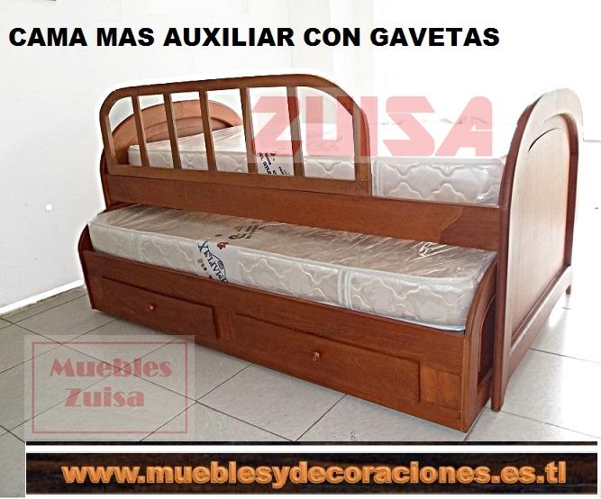 Muebles zuisa cama cunas for Cama doble con cama auxiliar