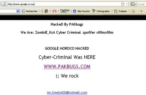 El mensaje dejado por los hackers.