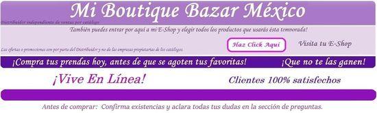 Mi Boutique Bazar México, Distribuidor Independiente Ventas por Catálogo, Catálogo Chemisette, Catálogo Healthy People, Catálogo Andrea, Catálogo CKlass, Catálogo Stop y otros más.