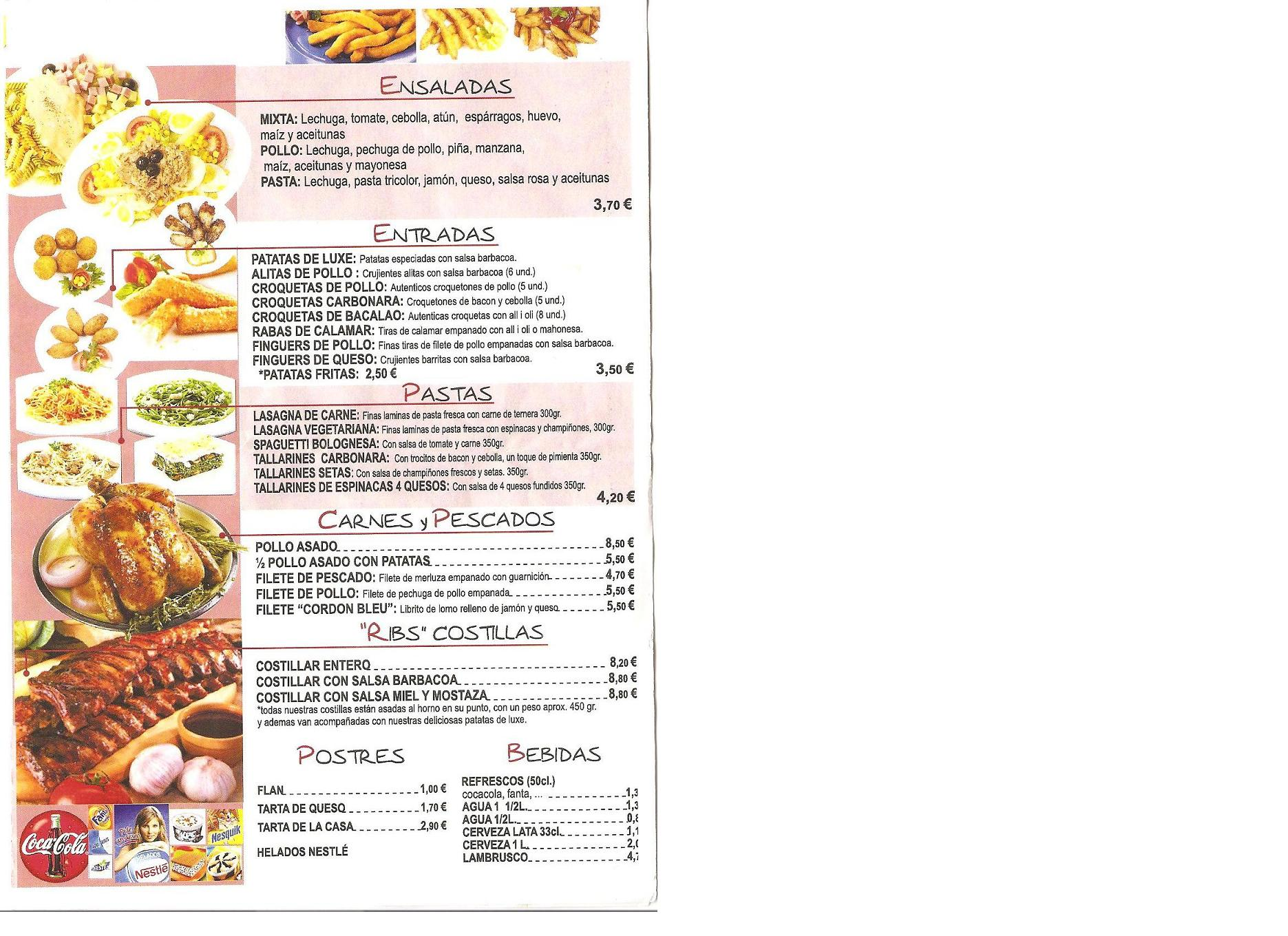 Men s de comida for Menu para comida familiar