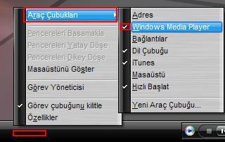 adim2 - Windows media player� ara� �ubu�u yapmak