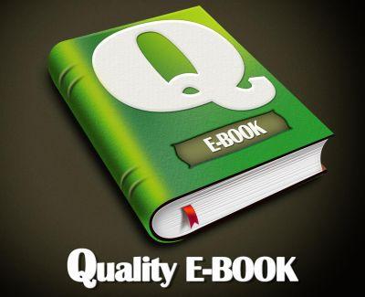 Logotipo de Quality E-BOOK consistente en un libro de color verde con una Q grande en la solapa de portada y la palabra e-BOOK situada debajo de ella.