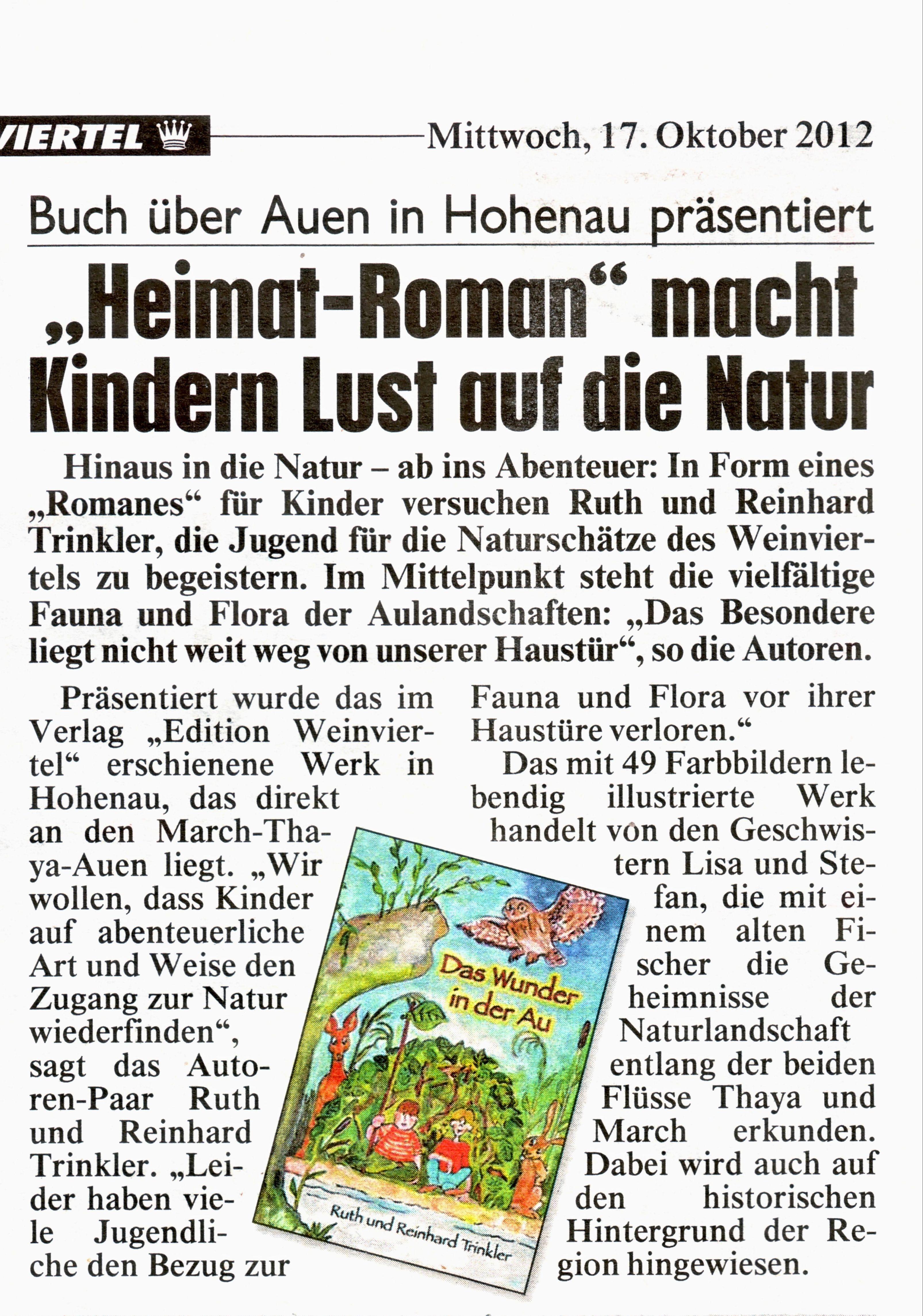 """Artikel in der """"Kronen Zeitung"""" (17. 10. 2012)"""