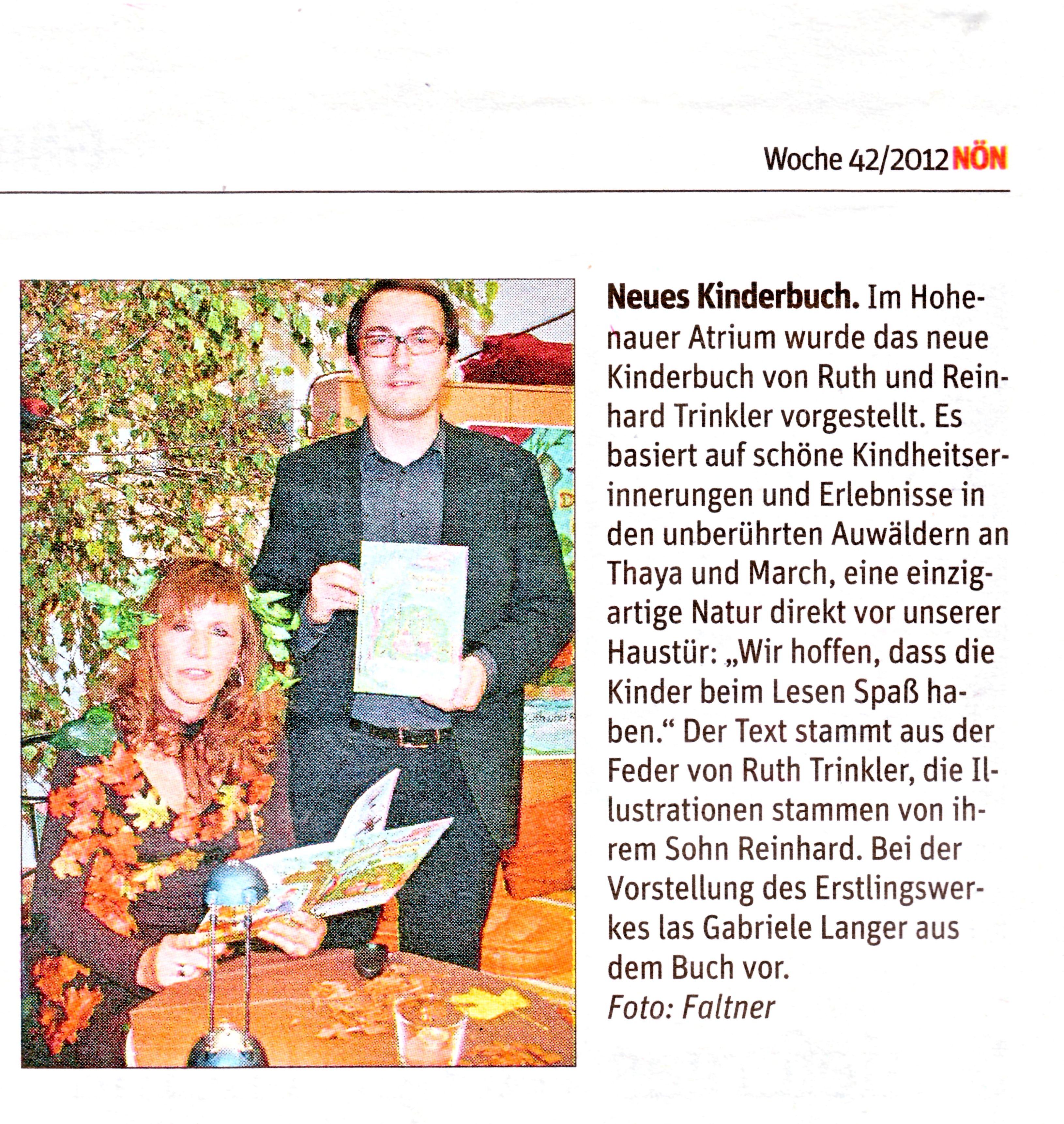 """Artikel in der Zeitung """"NÖN"""" (17. 10. 2012)"""