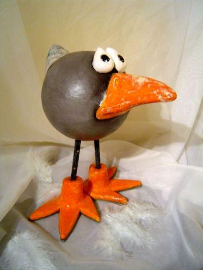 Galerie keramik für außen schräger vogel 01 verschenkt