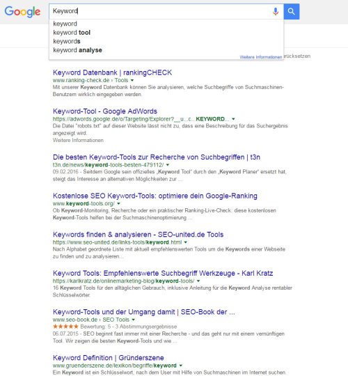 Keyword Suggestions via Google