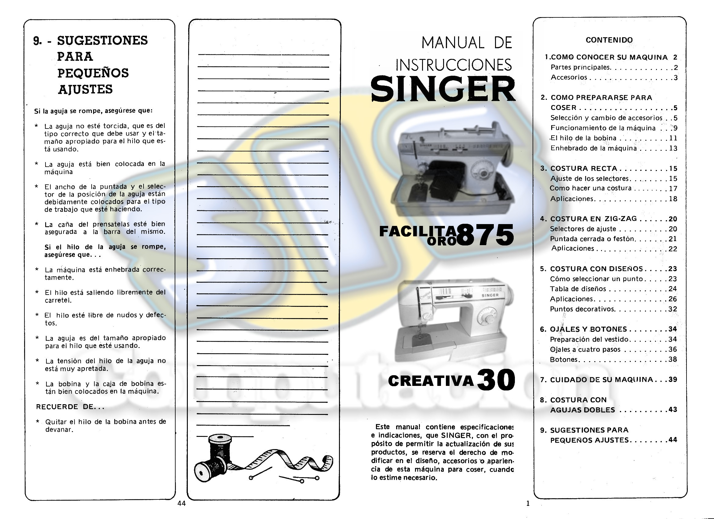 Manual de maquina singer facilita oro 875 & creativa 30
